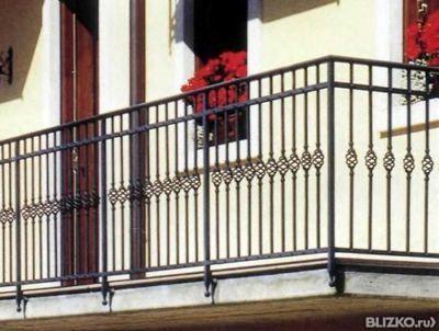 Перила металлические сварные открытые для балкона, цвет Черн.